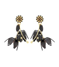 Marni Floral Horn Clip On Earrings Black