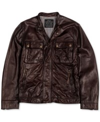 Lucky Brand Ace Leather Jacket Brown