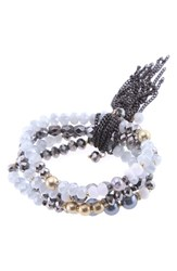 Nakamol Design Crystal And Freshwater Pearl Stretch Bracelet White