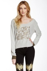Boy Meets Girl Off The Shoulder Sweatshirt Gray