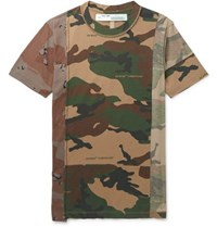 Off White Deconstructed Camouflage Print Cotton Jersey T Shirt Army Green