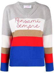 Giada Benincasa Panelled Crew Neck Jumper Blue