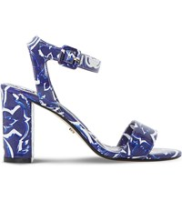 Dune Myko Tile Print Sandals Blue Synthetic Patent