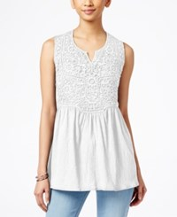 Styleandco. Style And Co. Empire Waist Split Neck Top Only At Macy's Bright White