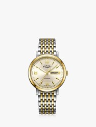 Rotary Gb05301 09 'S Windsor Day Date Bracelet Strap Watch Silver Gold