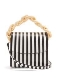 Marques Almeida Oversized Curb Chain Striped Leather Shoulder Bag Black White