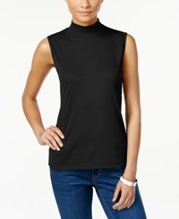 Karen Scott Sleeveless Mock Turtleneck Top Only At Macy's Deep Black