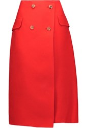 Jil Sander Wool And Silk Blend Twill Wrap Skirt Tomato Red