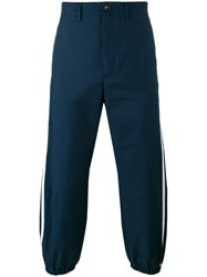Gucci Cropped Side Stripe Trousers Men Polyester 54 Blue