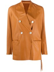Salvatore Santoro Leather Double Breasted Jacket Brown