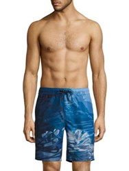 Surfside Supply Novelty Coral Reef Printed Shorts Deep Water Blue