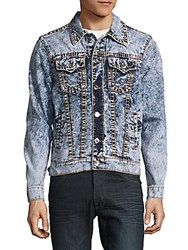 True Religion Button Down Denim Jacket Blue Acid Wash Crash