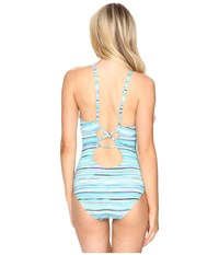 Jantzen Mayan Reef Over The Shoulder Plunge One Piece Cool Women's Swimsuits One Piece Blue