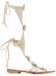 Prada Vintage Open Toe Sandals Nude And Neutrals