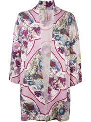 Antonio Marras Floral Open Front Cardigan Pink And Purple