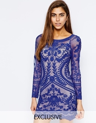 Goldie All Over Lace Bodycon Dress Blue