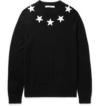Givenchy Slim Fit Star Appliqued Wool Sweater Black