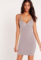 Missguided Double Strap Lace Insert Bodycon Dress Grey No