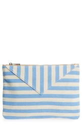 Sole Society Mini Panel Stripe Pouch Blue Periwinkle
