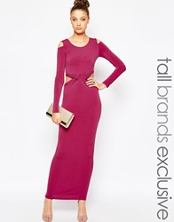 True Decadence Tall Cold Shoulder Maxi Dress With Knot Front Raspberry