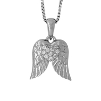 Jools By Jenny Brown Sterling Silver Pave Wings Pendant Rhodium