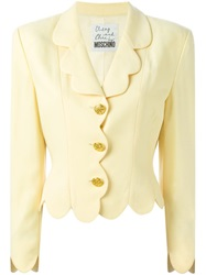 Moschino Vintage Scalloped Blazer Nude And Neutrals