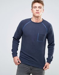 Esprit Sweatshirt With Taped Raglan Sleeve And Pocket Navy