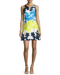Milly Floral Print Fit And Flare Dress Multi Colors