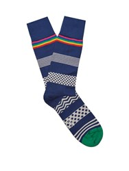 Paul Smith Polka Dot Striped Cotton Blend Socks Navy Multi