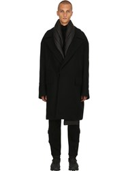 Juun.J Oversized Wool Coat W Padded Scarf Black