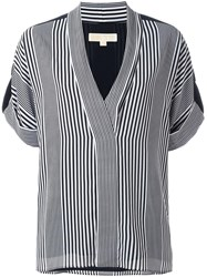 Michael Michael Kors Striped V Neck Blouse Blue