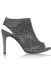 Pedro Garcia Sofia Perforated Suede Peep Toe Boots Gray