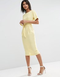 Asos Belted Wiggle Dress In Linen Lemon Yellow