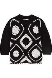 Mcq By Alexander Mcqueen Crocheted Wool And Cotton Blend Sweater Black