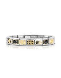 Nomination Classic Elegance Gold And Stainless Steel Bracelet W Black Gemstone Silver