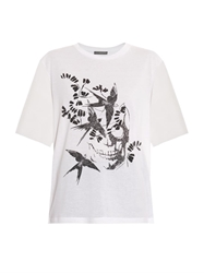 Alexander Mcqueen Swallow And Skull Print Cotton T Shirt