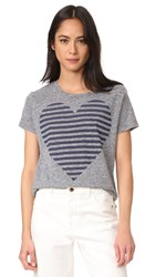 Sundry Stripe Heart Tee Heather Grey