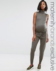 Missguided Maternity Slouch Ribbed High Neck Jumpsuit Khaki Green