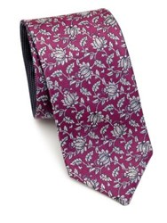 Saks Fifth Avenue Double Face Flower Silk Tie Fuschia Purple Navy