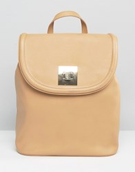 Asos Curved Backpack With Metal Lock Camel Brown