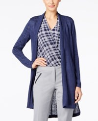 Alfani Petite Linen High Low Cardigan Only At Macy's Navy Nautical