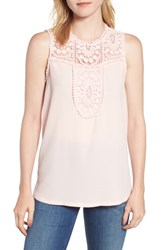 Halogen Lace And Crepe Top Pink Hush