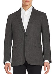 Ralph Lauren Black Label Herringbone Textured Wool Blazer Black Grey