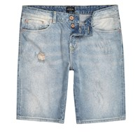 River Island Mens Light Blue Wash Denim Shorts