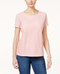 Karen Scott Lace Front T Shirt Only At Macy's Rose Kiss
