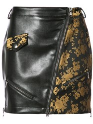 Moschino Faux Leather And Jacquard Mini Skirt Polyester Acetate Black