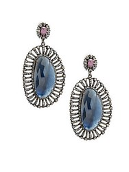 Bavna Champagne Diamond Sapphires And Sterling Silver Champ Rose Earrings No Color