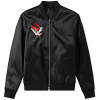 Alexander Mcqueen Satin Embroidered Bomber Jacket Black