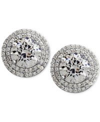 Arabella Sterling Silver White Swarovski Zirconia Pave Set Stud Earrings 7 3 8 Ct. T.W. Clear