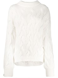Brunello Cucinelli Oversized Cable Knit Sweater White